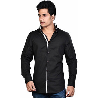 Dazzio Men's Black Lounge Wear Shirt