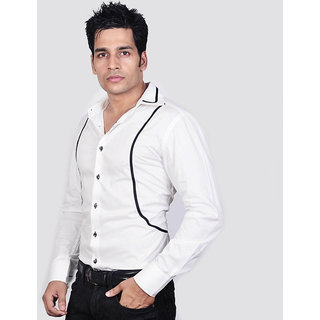 Dazzio Men's White Smart Casual Shirt - Option 1