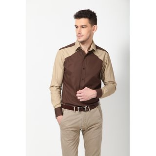 Dazzio Men's Brown Smart Casual Shirt