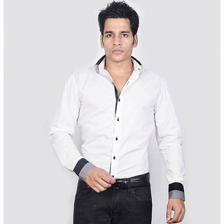 Dazzio Men's White Double Collar Smart Casual Shirt