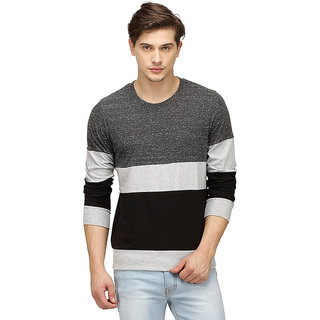 Campus Sutra Full Sleeve Charcoal T-Shirt For Men
