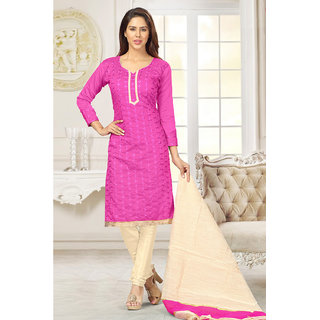Sareemall Blue Chanderi Embroidered Salwar Suit Dress Material