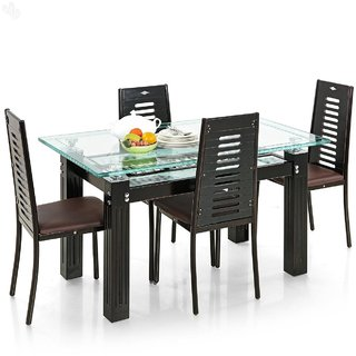 Royal Oak Milan Four Seater Dining Table Set (Black and Brown)