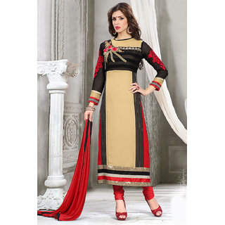 Sareemall Black And Beige Georgette Embroidered Salwar Suit Dress Material