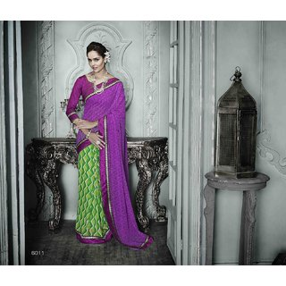 Sareemall Purple & Green Georgette Printed Saree With Blouse