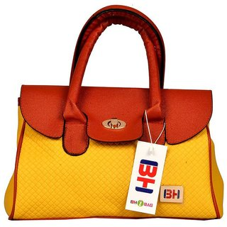 Imported PU Leather Shoulder  Hand Bag For Women Yellow
