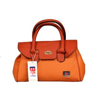 Imported PU Leather Shoulder  Hand Bag For Women Orange