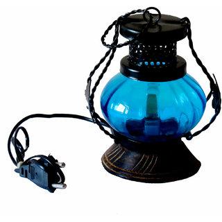 Vap Mart Wrought Iron Blue Glass Circle Electric Lamp