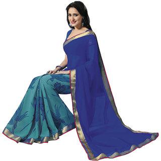 b3b5455a51 Buy Shopeezo Daily Wear BlueGreen Color Chiffon Saree/Sari Online ...