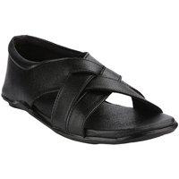 Wave Walk MenS Black Casual Slip On Sandals (100-BLACK)