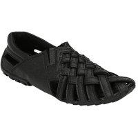 Wave Walk MenS Black Casual Slip On Sandals (2123-BLACK)