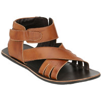 Wave Walk MenS Tan Casual Zip Sandals (911-TAN)