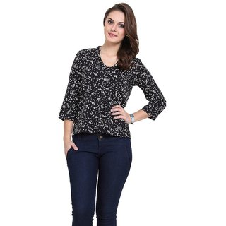 V Neck Style Shirt With 3/4th Sleeve, Blend Top