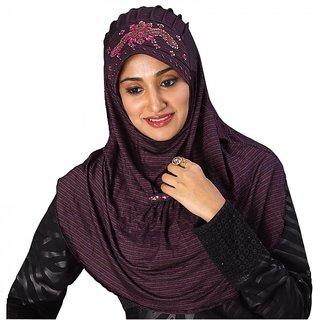 AAIMA107 PolyCotton Stretchable Handwork Design Hijab
