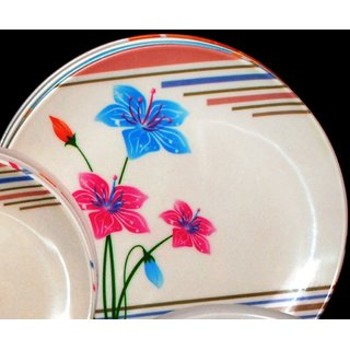 Set Of 6 Pcs Trendy White Melamine Full Dinner Plates Design 6