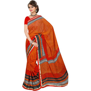 Jiya Red Silk Checks Saree With Blouse