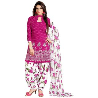 Cotton Print Salwar Suit Dress Material For WomenS Pink Colour (Unstitched)