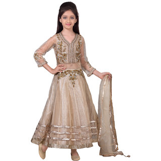 Basil Leaf Straight Gold Net Embroidered Lehenga Choli For Girls
