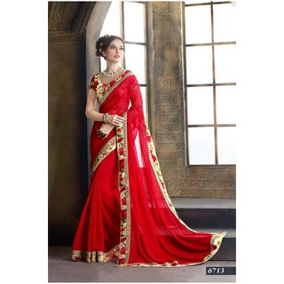 INDIAN BEAUTY. Multicolor Georgette Geometric Saree With Blouse