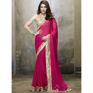 429cd008308243 Buy Indian Beauty Pink Georgette Plain Saree With Blouse Online - Get 46%  Off