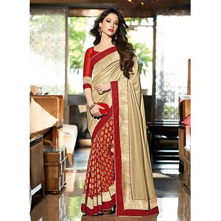 49aa15106d09e Indian Beauty Brocade Self Design Lace Border Saree With Blouse ( Colours  Available)