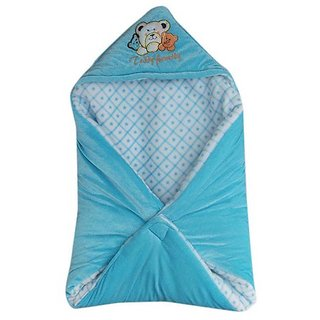Garg Teddy Family Hooded Shearing Velvet Sky Blue Baby Blanket