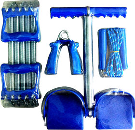 4 IN 1 FAMILY WORKOUT SET TUMMY TRIMMER HAND GRIPPER ROPE CHEST SPRING.