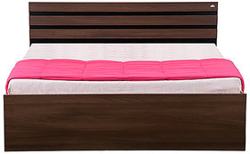 Hans Furnitures Bed with Box Storage in Black  Dark Acacia Matt Finish