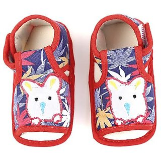 Chhote Janab Baby Red Flower Print Booties