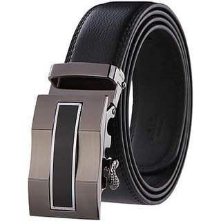 Phoenix Men Black Genuine Leather Belt(black-mb-07)