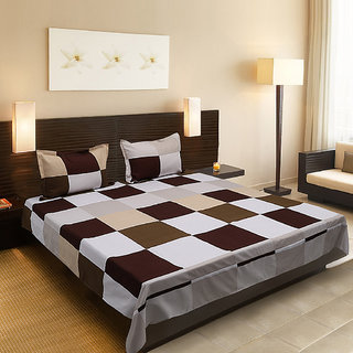 Silver Thread Double Bed Sheet with 2 Pillow Cover (Emzer Q5)