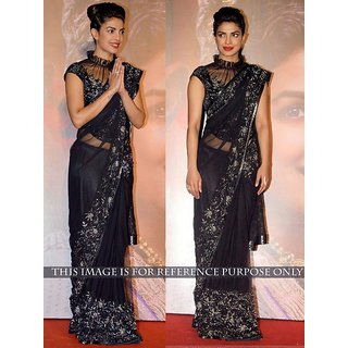 Thankar online trading Black Net Embroidered Saree With Blouse