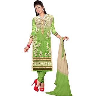 Parisha Green Chanderi Embroidered Salwar Suit Dress Material
