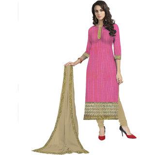 Parisha Pink Chiffon Embroidered Salwar Suit Dress Material
