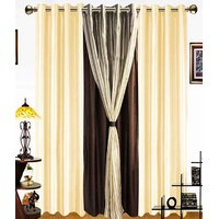 iLiv Stylish curtains combo set of 4 long door 9ft - 1brown2cream1tissue9ft