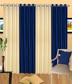 iLiv Stylish curtains combo set of 4 -2creamnd2blu7ft
