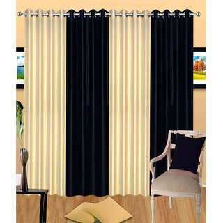 iLiv Stylish curtains combo set of 4 door curtain 7ft- 2blacknd2cream7ft