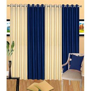 iLiv Stylish curtains combo set of 4 -2creamnd2blu7ft