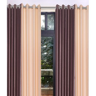 iLiv Stylish curtains combo set of 4 long door 9ft - 2brown2cream9ft
