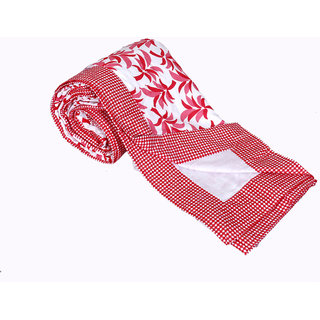 IndiWeaves Cotton  Dohar/Ac Blanket  set for Double Bed (1 pieces)-WhiteRed (90742-DB)