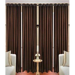 iLiv Stylish Door curtains combo set of 4 7ft - 4brnplain7ft