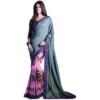 Lovely Look Grey  Pink Printed Saree