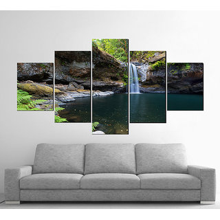 Decor Kafe 5 Piece Digital Printed Water Fall Without Frame Poster 59x31(inch)