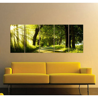 Decor Kafe 5 Piece Digital Printed green nature Without Frame Poster 59x31(inch)