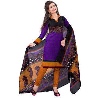 Jiya Presents Cotton Unstitched Dress Material (Purple  Multi  Dark Yellow)