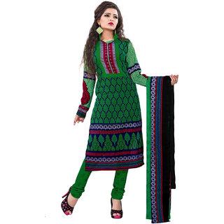 Jiya Presents Cotton Unstitched Dress Material (Green  Dark Blue)