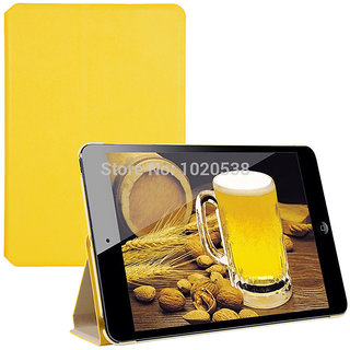 Lention Yellow leather Skin Case for I- Pad ni
