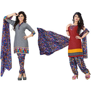 Lovely look Grey  Red Printed Un-Stitched Straight Suit LLKKFSWSFR2107