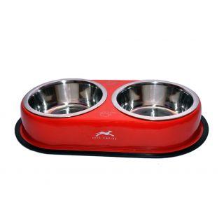 Petshop7 Solid Dog Double Dinner Set RED -  460M Lx2 Food Bowls- Medium