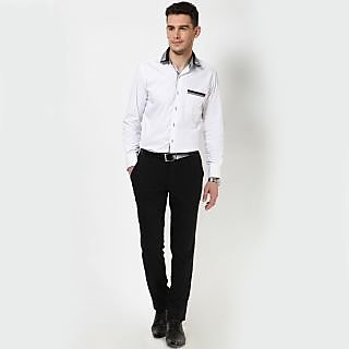Dazzio Men's White Smart Casual Shirt - Option 18